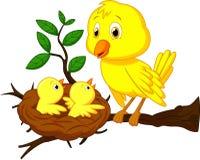 Mutter- und Vogelbabykarikatur Stockfotografie