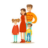 Mutter, Vati und Kinder, glückliche Familie, die gute Zeit-zusammen Illustration hat Stockfotos