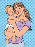 Mutterfrau mit einem Baby in ihren Armen Stockbild