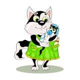 Mutterkatze in einem Kleid, das ein Kätzchen hält, wenn Kleidung und eine Kappe gewickelt werden Die Sorgfalt der Mutter Vektor Lizenzfreies Stockbild