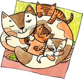 Mutterkatze mit Kätzchen stock abbildung