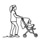 mutterschaft Glückliche junge Mutter mit dem Baby im Pram Ununterbrochenes Federzeichnung Lokalisiert auf dem weißen Hintergrund Lizenzfreies Stockbild