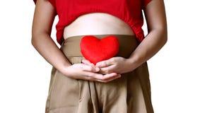 Mutterschaftskonzept: schwangere Frau, die ihren bloßen Bauch berührt und in den Händen des roten Herzens hält Stockfotos