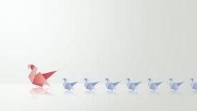 Mutterschwan mit ihrer babys Origamiillustration Lizenzfreie Stockfotografie