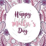 Muttertag mit den Blättern und Blumen dacorative Stockbild