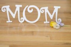 Muttertagbuchstaben mit Blumen und den Blumenblättern stockfoto