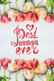 Muttertagesbeschriftungskarte, reizende Tulpen mit Wasser fällt, Blumenfrühjahrrahmen, Draufsicht Stockbild