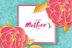 Muttertagesgrußkarte Frauen `s Tag Papier geschnittene rosa Goldpfingstrosenblume Schöner Blumenstrauß des Origamis Quadratisches lizenzfreie abbildung
