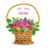 Muttertagkarte Korb mit Blumenrosen Lizenzfreies Stockbild