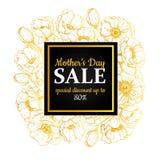 Muttertagverkaufsillustration Ausführliche Blumenzeichnung Großes b Stockfoto