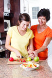 Mutterunterrichtendes Tochterkochen Stockbilder
