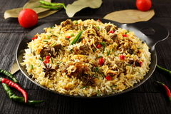 Mutton  biriyani from authentic Indian cuisine. Royalty Free Stock Photography