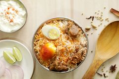 Mutton Biryani is a famous rice dish from India. Mutton Biryani is a famous rice based dish which is usually prepared in special occasions. Rice and mutton is Royalty Free Stock Image