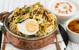 Mutton biryani. Keema Biryani Masala Rice cooked in muslim household and auspicious occasions in India and Pakistan Royalty Free Stock Photo