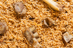 Mutton biryani overhead view Royalty Free Stock Image