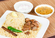 Mutton Biryani with Salad Stock Image