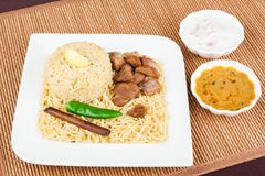 Mutton Biryani with Salad Stock Photo