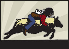 Mutton Busting. Illustration of a kid riding a sheep Stock Image