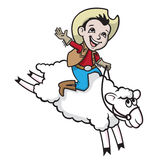 Mutton Busting. A vector illustration of a boy riding a sheep Stock Image