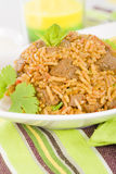 Mutton Byriani. Lamb and rice cooked with spices. Served with raita. Traditional South Asian Cuisine Stock Photography