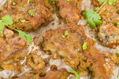 Mutton Chaap. Fried battered spicy lamb cutlets garnished with green chilies, coriander and chaat masala royalty free stock photos