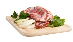 Mutton-chop with herbs and onion stock image