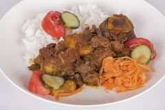 Mutton Curry with Jasmine Rice and Sambals Royalty Free Stock Photography
