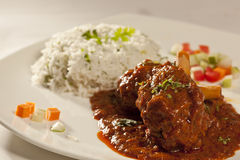Mutton Curry wtih rice from India Royalty Free Stock Photo