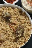 Mutton Gosht Biryani - A rice preparation with mutton and spices. Mutton Gosht Biryani - Lamb, hogget, and mutton are the meat of domestic sheep or Goat. Biryani Stock Images