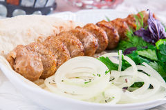 Mutton kebab with onion and herbs Royalty Free Stock Image