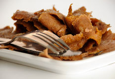 Mutton kebab. Slices of the mutton meat - kebab Royalty Free Stock Photos