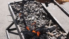 Mutton meat spitted on hot coals stock footage