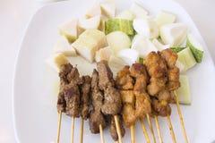 Mutton och feg Satay maträttlodlinje royaltyfri fotografi