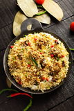 Mutton  pilaf served in cast iron cookware Stock Images