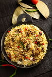 Mutton r pilaf served in cast iron cookware Stock Photography