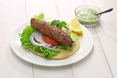 Mutton seekh kabab kebab sandwich Stock Photography