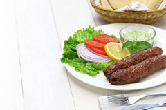 Mutton seekh kabab. With mint chutney stock photos