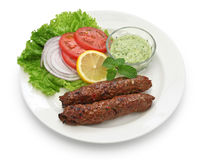 Mutton seekh kabab. With mint chutney stock image
