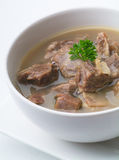 Mutton soup in bowl or soup kambing. Mutton soup, mutton soup or soup kambing Stock Photo