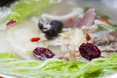 Mutton soup pot. Winter nourishing food Royalty Free Stock Image