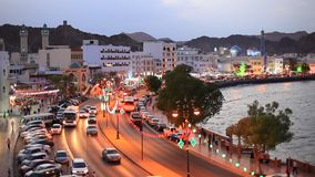 Muttrah Corniche at night, Oman stock footage