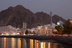 Muttrah Corniche no crepúsculo, Musca Imagens de Stock Royalty Free