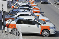 Muttrah Muscat parked taxi cabs Stock Images