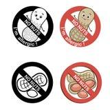 Muttrar frigör symboluppsättningen med text inga muttrar - allergisk I-` M Vektorillustrationer på en vit bakgrund Arkivfoto