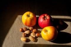 Muttrar och äpplen i bakgrunden Hasselnötter och mandelar Arkivfoto
