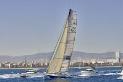 Mutua Madrileña Boat. Sailing in the Barcelona World Race start, in the coast of Barcelona city on November 11, 2007 in Barcelona, Spain Stock Photography