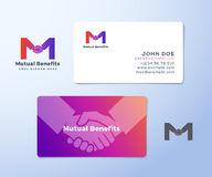 Mutual Benefit Abstract Vector Sign, Symbol or Logo Template and Business Cards. Hand Shake Incorporated in Letter M Stock Photography