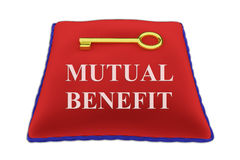 Mutual Benefit concept. 3D illustration of MUTUAL BENEFIT Title on red velvet pillow near a golden key, isolated on white Royalty Free Stock Images