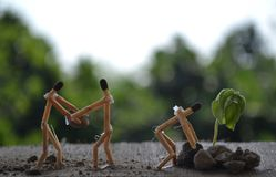 Mutual cooperation with matchsticks with awesome background, concept family stock images