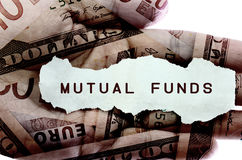 Mutual fund. Text on a paper scrap Royalty Free Stock Image